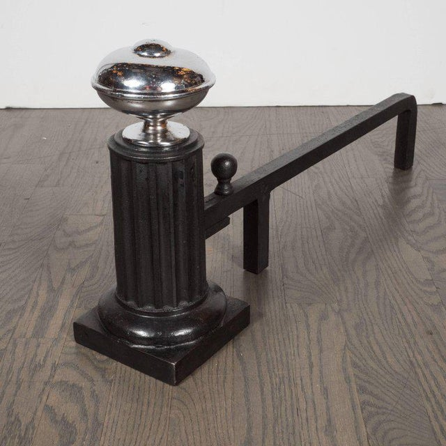 Chrome American Art Deco Streamlined Fireplace Set in Chrome and Black Enamel For Sale - Image 7 of 11