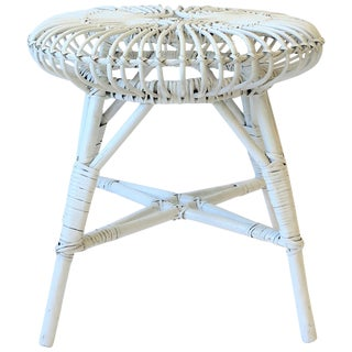 Round White Wicker Rattan Stool or Side Table by Franco Albini For Sale