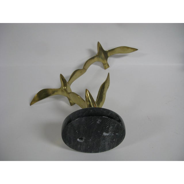 Metal Mid-Century Modern Brass and Marble Birds in Flight Sculpture For Sale - Image 7 of 9