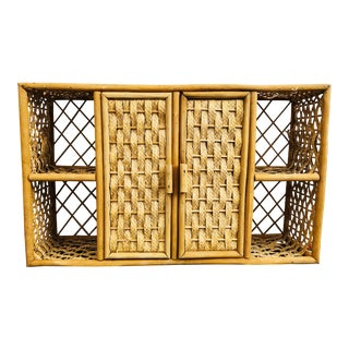 Vintage Wicker Wall Cabinet For Sale