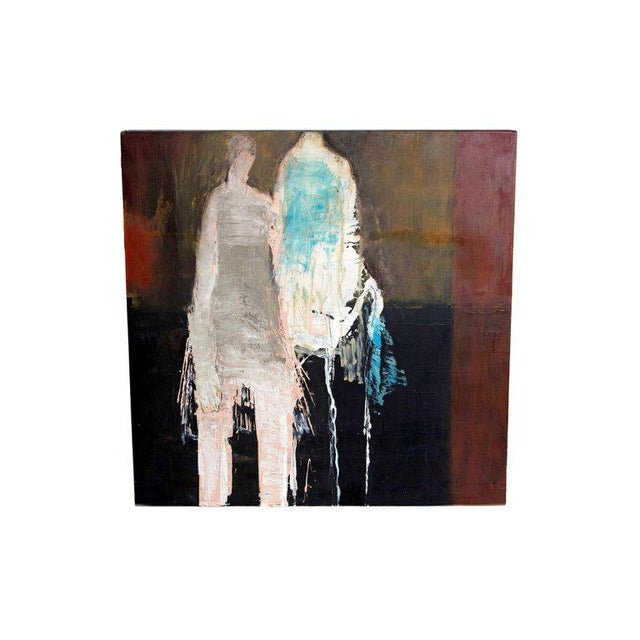 "Abstract & Figurative Oil on Board by Brigitte McReynolds, ""Couple in the Blue"" For Sale - Image 13 of 13"