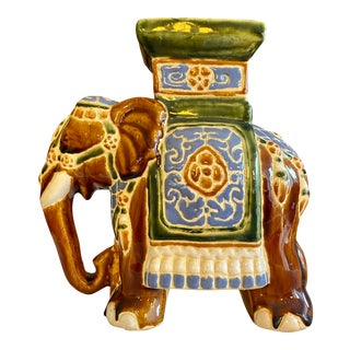 1960s Mid Century Ceramic Elephant Plant Stand For Sale