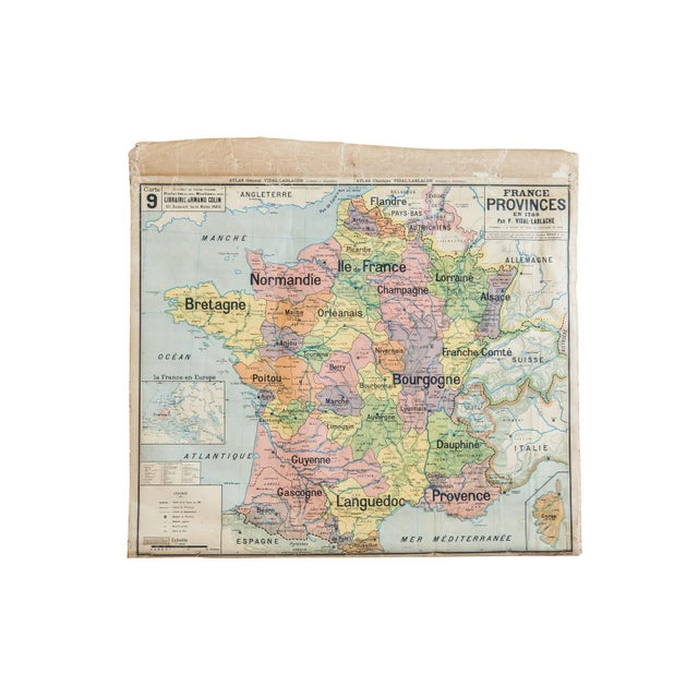 Antique Pull Down Map of France For Sale