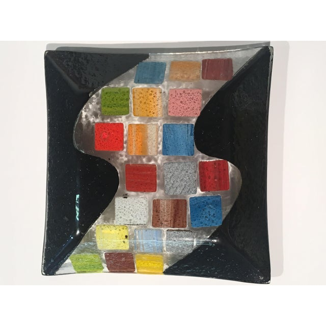 Vintage 80s Abstract Textured Glass Dish For Sale In Atlanta - Image 6 of 9