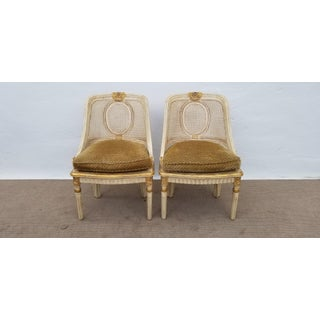 French Century Furniture Carved Wood and Cane Accent Chairs - a Pair Preview