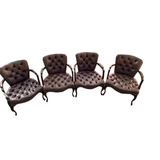 1960s Vintage Purple Leather Chairs - Set of 4 For Sale