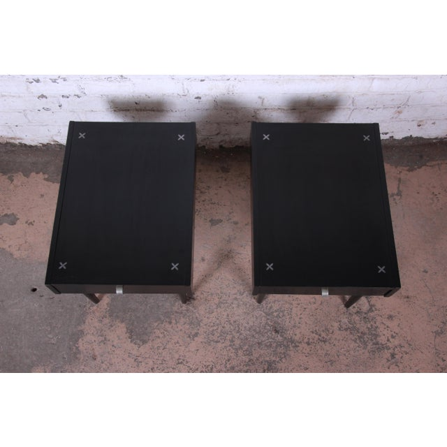 Silver Merton Gershun for American of Martinsville Ebonized End Tables or Nightstands, Pair For Sale - Image 8 of 13