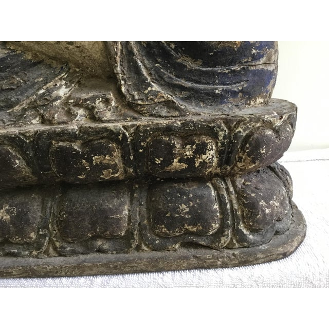 Wood Antique Wooden Carved Buddha Figurine For Sale - Image 7 of 12