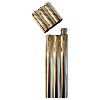 Polished Chrome Cigar Holder With Flask For Sale