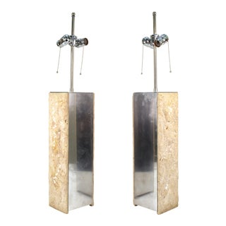 Modern Brutalist Style Table Lamps in Metal and Stone - a Pair For Sale
