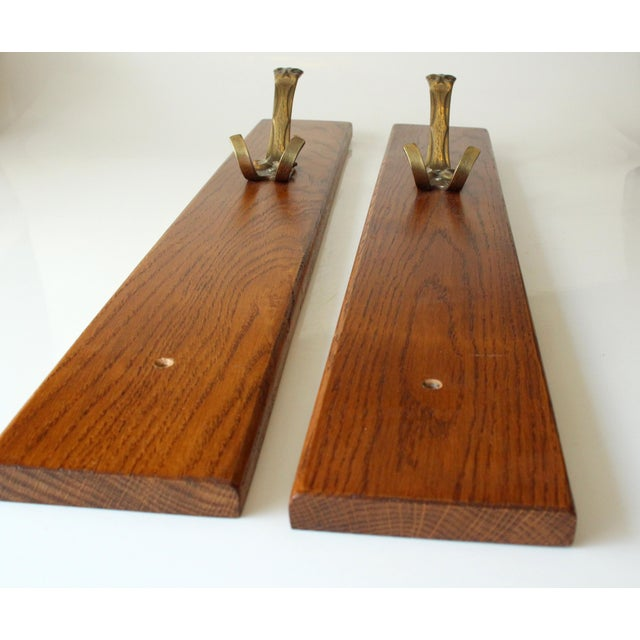 1970s Solid Brass Coat Hooks on a Solid Wooden Wall Brackets - Set of 2 For Sale - Image 4 of 7