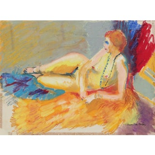 "Alysanne McGaffey ""Daphne"" Bright Female Figure Pastel Painting, Circa 1960s For Sale"