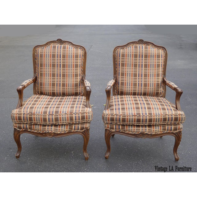 Vintage French Country Carved Wood Brown Orange Plaid Chairs - A Pair - Image 2 of 10