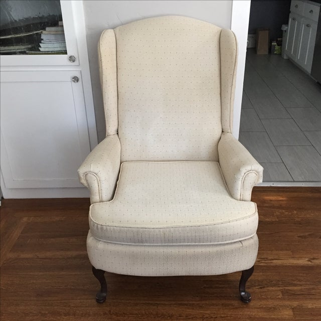 Vintage Ivory Wingback Chair - Image 2 of 8
