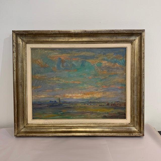 Vintage Landscape Farm Scene Painting For Sale - Image 10 of 11