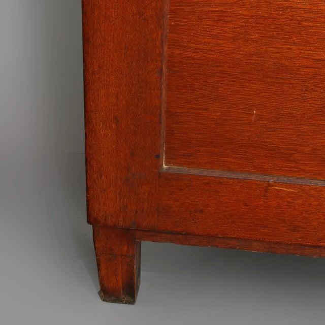 Antique Arts & Crafts Paneled Oak 10-Drawer Filing Cabinet, Yawmen & Erbe For Sale - Image 6 of 10