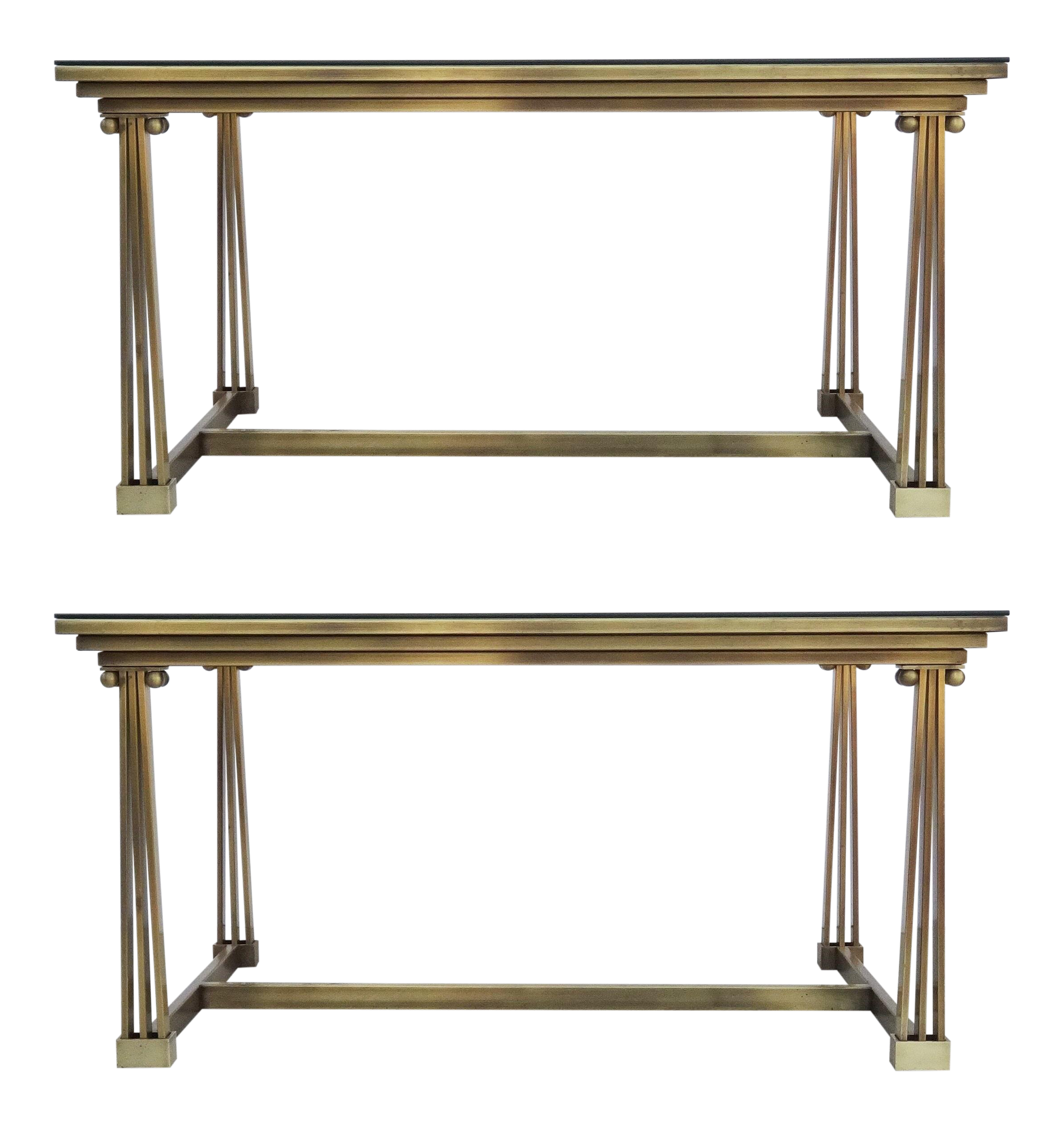 World Class Two Brass Glass Desk Or Dining Table Mastercraft Decaso