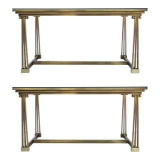 Two Brass & Glass Desk or Dining Table, Mastercraft For Sale