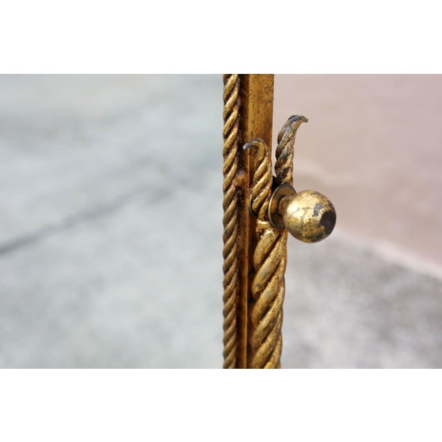 Glass Vintage Gold Gilt Wrought Iron Rope Floor Mirror - Made in Italy For Sale - Image 7 of 11