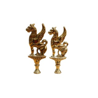 Polished Brass Griffin Lamp Finials - a Pair For Sale