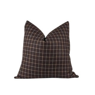 "Brown Plaid Euro Pillow 24"" x 24"""