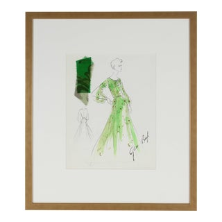 Gibson Bayh Fashion Illustration in Green, Ink and Gouache, 1950s 1950s For Sale