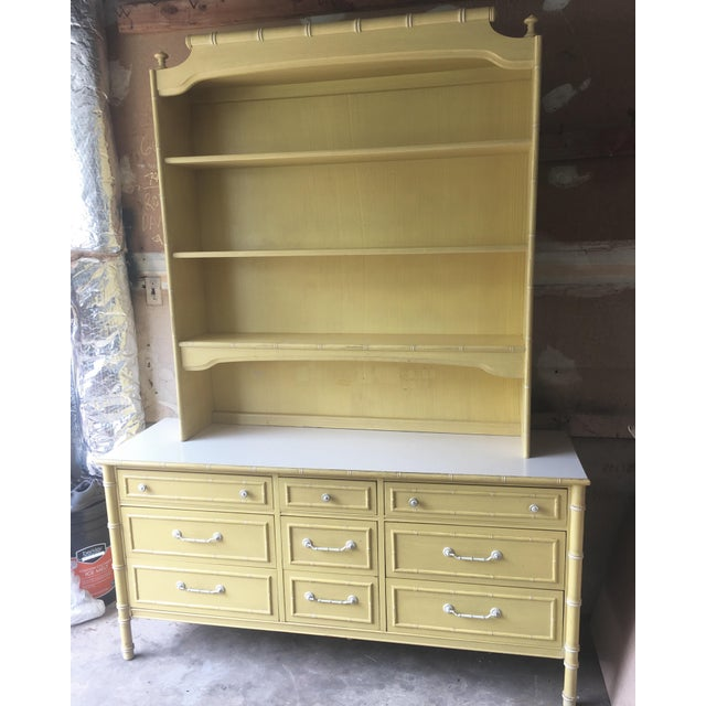 Thomasville 1970s Hollywood Regency Thomasville Faux Bamboo Dresser and Hutch For Sale - Image 4 of 13