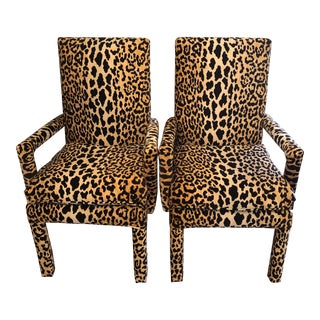 Modern Leopard Parsons Chairs - a Pair For Sale