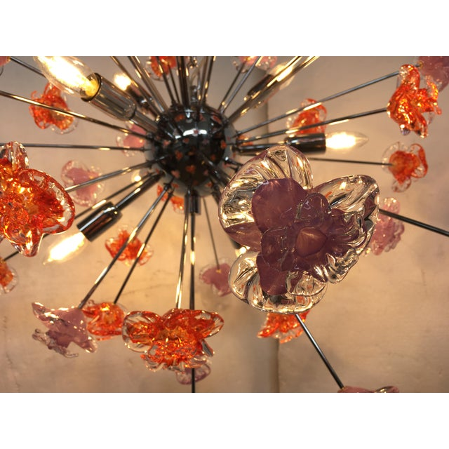 Contemporary Contemporary Murano Glass Flowers Sputnik Chandelier For Sale - Image 3 of 12