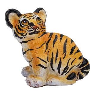 1960s Vintage Italian Hand-Painted Terracotta Glaze Tiger Figurine For Sale