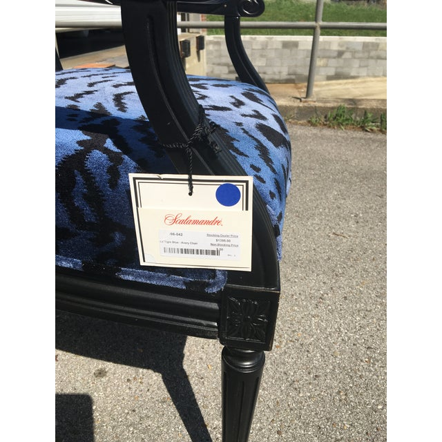Port 68 Scalamandre Blue Le Tigre Upholstered Avery Chair - Image 3 of 7