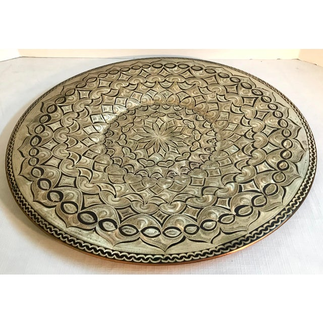 Vintage Etched Copper Platter Wall Hanging For Sale - Image 4 of 9