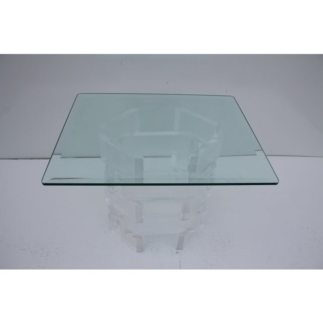 Sculptural Stacked Lucite & Glass Top Side Table - Image 7 of 10