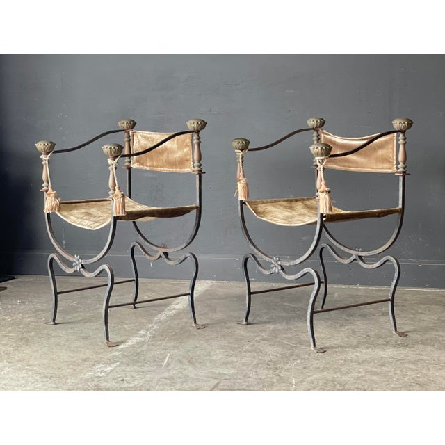 Pair of Antique Iron and Brass Curule Chairs For Sale - Image 10 of 10