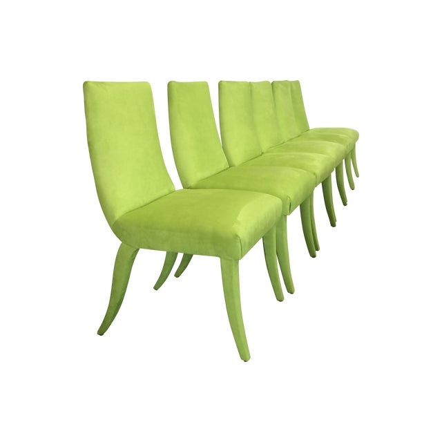 Mid Century Lime Dining Chairs - Set of 6 - Image 1 of 9