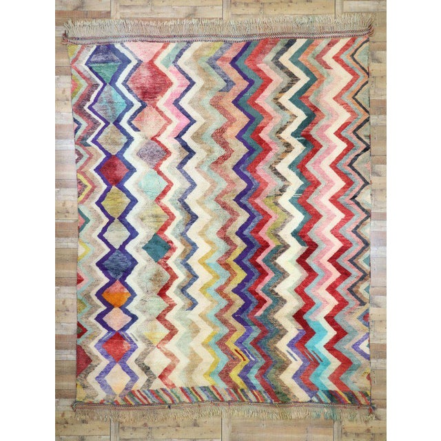 Green Contemporary Missoni Style Moroccan Berber Rug - 10′6″ × 13′4″ For Sale - Image 8 of 9