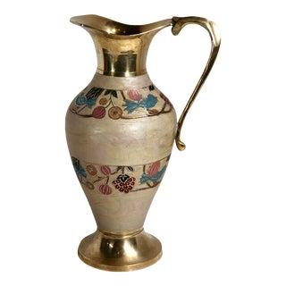 Vintage Cloisonne Brass Enamel Floral Motif Vase For Sale