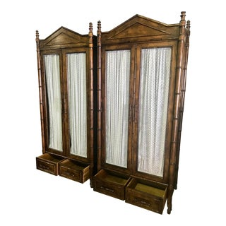Late 20th Century Vintage Century Furniture Faux Bamboo Armoire Cabinets- A Pair For Sale