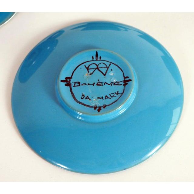 1950s Blue Mid Century Danish Modern Bjorn Wiinblad Pottery Tea Cups & Saucers - Set of 4 For Sale - Image 5 of 10