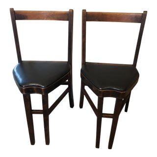 Early 20th Century Wood and Leather Ice Cream Parlor Chairs - a Pair For Sale