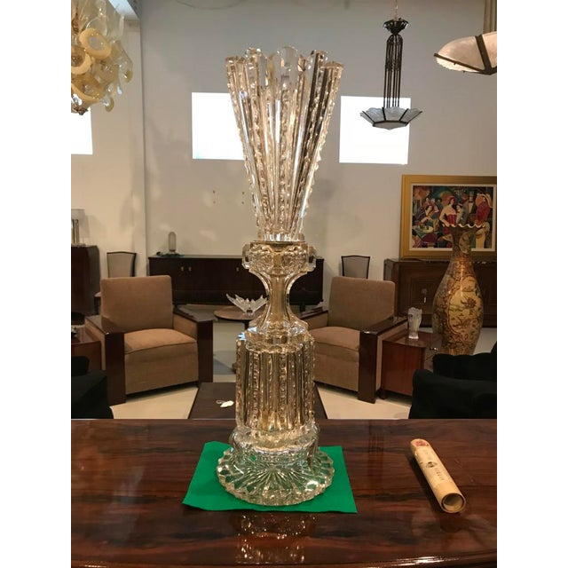 Art Deco Monumental Russian Imperial Cut-Crystal Vase For Sale - Image 3 of 8