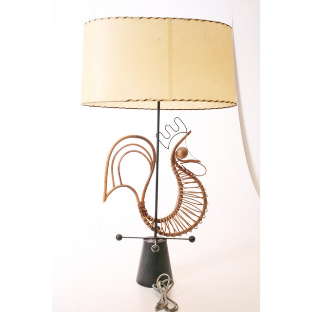 Brown Frederick Weinberg Mid Century Modern Wicker Table Lamp For Sale - Image 8 of 11