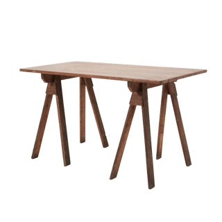 20th Century Industrial French Sawhorse Table For Sale