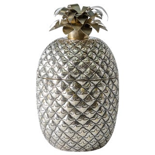 Huge Pineapple Ice Bucket/Box Silver Plate, Portugal For Sale