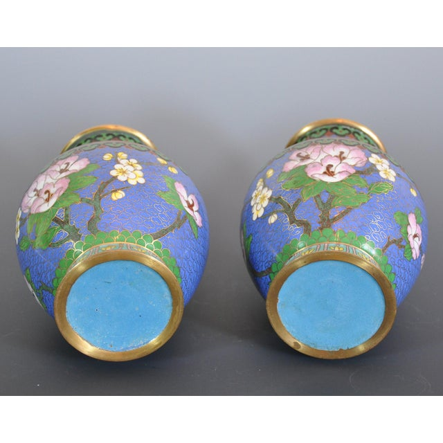 Vintage Chinese Cloissone Vases - A Pair For Sale In Dallas - Image 6 of 7