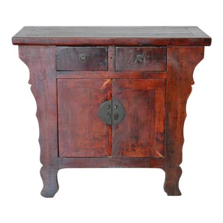 1980s Chinese Lacquered Wooden Nightstand For Sale