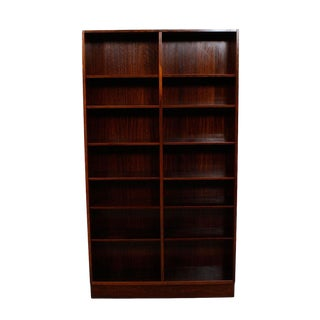 Danish Modern Rosewood Adjustable Shelves Bookcase For Sale