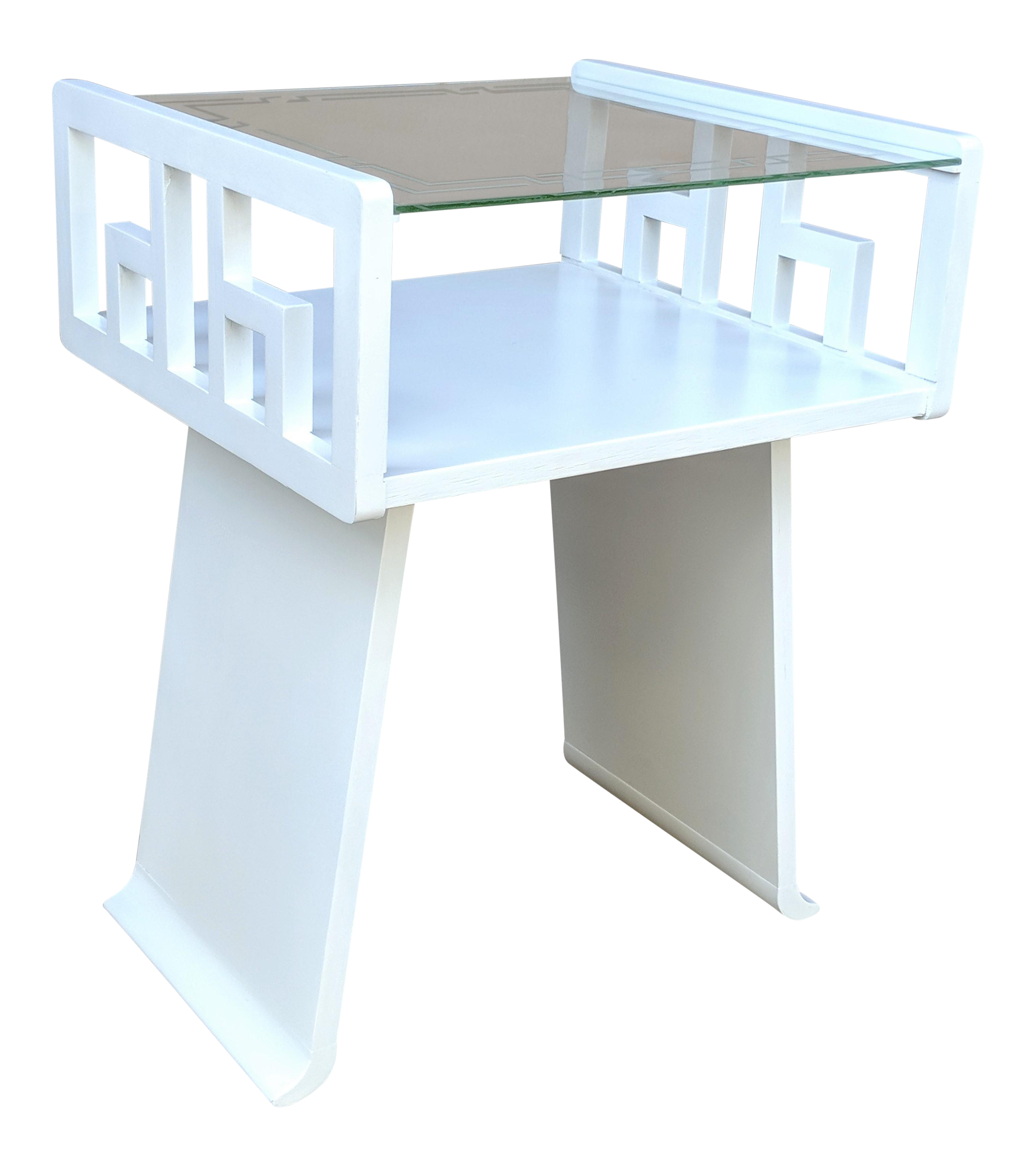 Greek Key White Lacquered Table