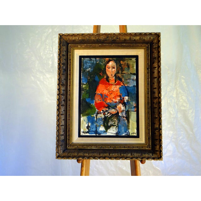 """1950s Vintage Ruth Schloss """"Sephardic Woman"""" Oil on Canvas Painting For Sale - Image 10 of 10"""