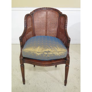 Theodore Alexander Cane Back Carved Mahogany Arm Chairs- A Pair Preview